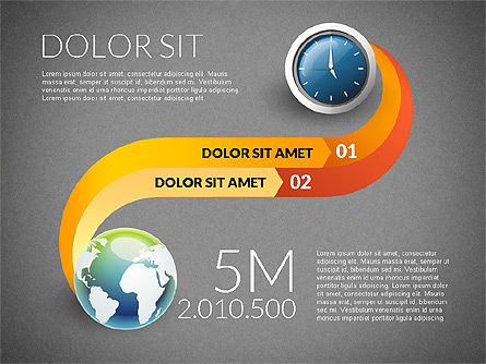 Clock and Globe Infographics Concept, Slide 11, 02989, Infographics — PoweredTemplate.com
