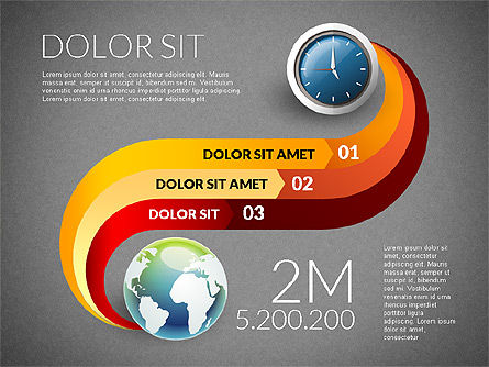 Clock and Globe Infographics Concept, Slide 12, 02989, Infographics — PoweredTemplate.com