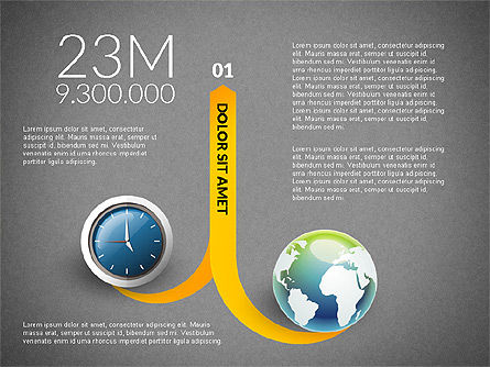 Clock and Globe Infographics Concept, Slide 13, 02989, Infographics — PoweredTemplate.com