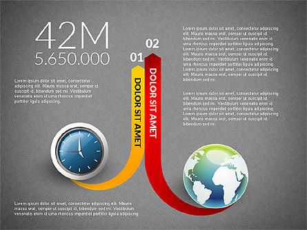 Clock and Globe Infographics Concept, Slide 14, 02989, Infographics — PoweredTemplate.com