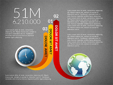 Clock and Globe Infographics Concept, Slide 15, 02989, Infographics — PoweredTemplate.com
