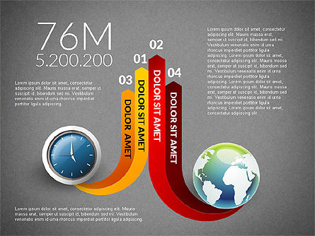 Clock and Globe Infographics Concept, Slide 16, 02989, Infographics — PoweredTemplate.com