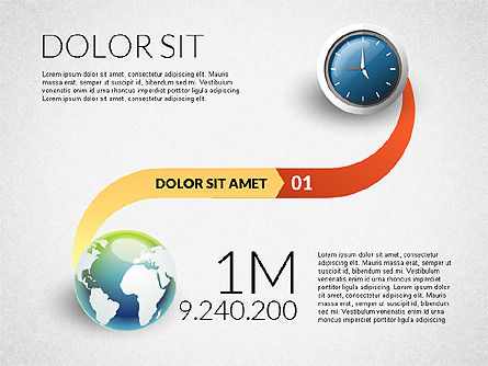 Clock and Globe Infographics Concept, Slide 2, 02989, Infographics — PoweredTemplate.com