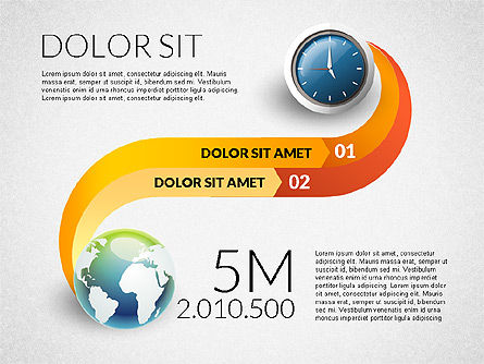 Clock and Globe Infographics Concept, Slide 3, 02989, Infographics — PoweredTemplate.com