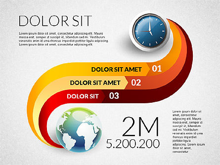Clock and Globe Infographics Concept, Slide 4, 02989, Infographics — PoweredTemplate.com