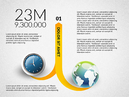 Clock and Globe Infographics Concept, Slide 5, 02989, Infographics — PoweredTemplate.com