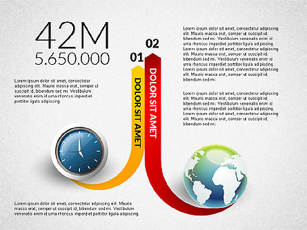 Clock and Globe Infographics Concept, Slide 6, 02989, Infographics — PoweredTemplate.com