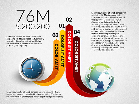 Clock and Globe Infographics Concept, Slide 8, 02989, Infographics — PoweredTemplate.com