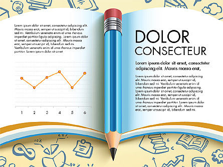 Data Driven Report with Book and Pencil, 03006, Data Driven Diagrams and Charts — PoweredTemplate.com