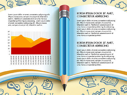 Data Driven Report with Book and Pencil, Slide 2, 03006, Data Driven Diagrams and Charts — PoweredTemplate.com
