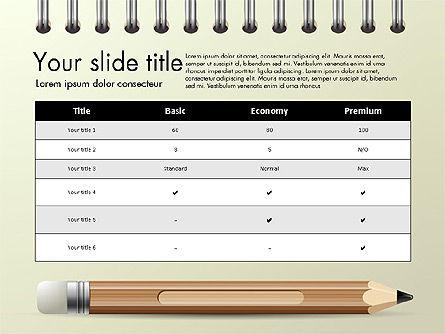 Presentation on Notebook Sheet with Pencil, Slide 8, 03015, Presentation Templates — PoweredTemplate.com