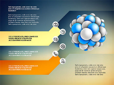 Presentation Template with Molecule Shape, Slide 14, 03027, Stage Diagrams — PoweredTemplate.com
