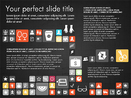 Flat Design Icons Presentation Deck, Slide 14, 03028, Icons — PoweredTemplate.com