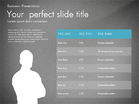 Business Presentation with Silhouettes and Shapes, Slide 14, 03029, Presentation Templates — PoweredTemplate.com