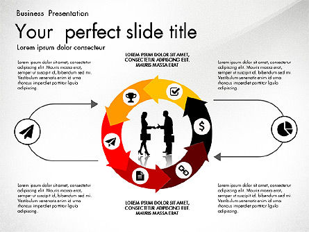 Business Presentation with Silhouettes and Shapes, Slide 2, 03029, Presentation Templates — PoweredTemplate.com