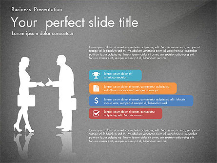 Business Presentation with Silhouettes and Shapes, Slide 9, 03029, Presentation Templates — PoweredTemplate.com