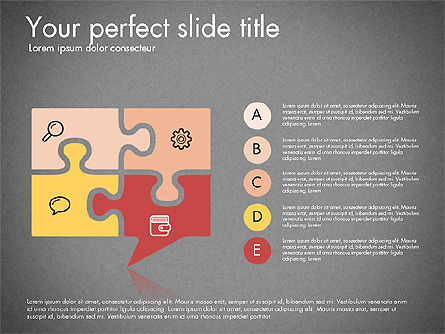 Puzzle Pieces with Icons, Slide 11, 03044, Puzzle Diagrams — PoweredTemplate.com