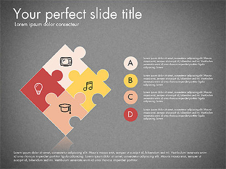 Puzzle Pieces with Icons, Slide 13, 03044, Puzzle Diagrams — PoweredTemplate.com