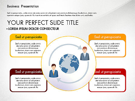Presentation with Flat Design Shapes and Diagrams, Slide 2, 03066, Presentation Templates — PoweredTemplate.com