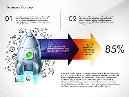 Project Launch Concept, Slide 3, 03098, Process Diagrams — PoweredTemplate.com
