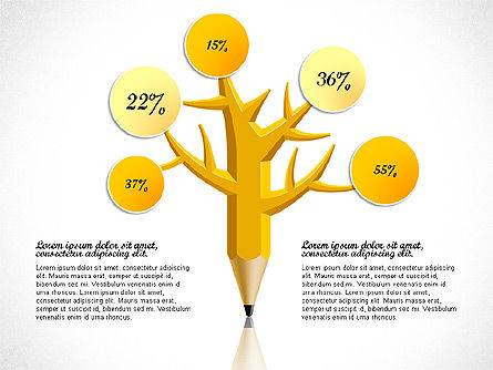 Pencil Tree Infographics, 03106, Stage Diagrams — PoweredTemplate.com