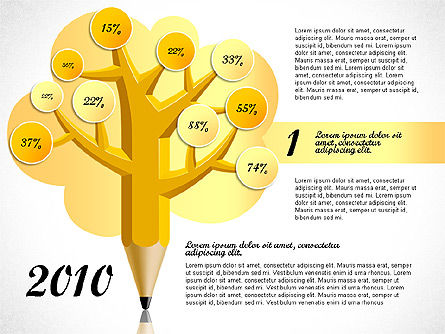 Pencil Tree Infographics, Slide 2, 03106, Stage Diagrams — PoweredTemplate.com