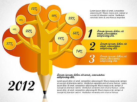 Pencil Tree Infographics, Slide 4, 03106, Stage Diagrams — PoweredTemplate.com