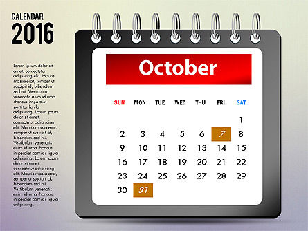2016 Calendar, Slide 10, 03107, Timelines & Calendars — PoweredTemplate.com