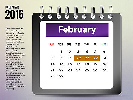 2016 Calendar, Slide 2, 03107, Timelines & Calendars — PoweredTemplate.com