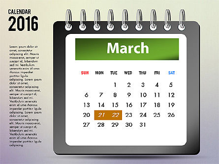 2016 Calendar, Slide 3, 03107, Timelines & Calendars — PoweredTemplate.com