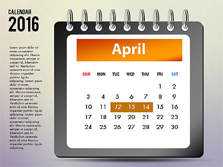 2016 Calendar, Slide 4, 03107, Timelines & Calendars — PoweredTemplate.com