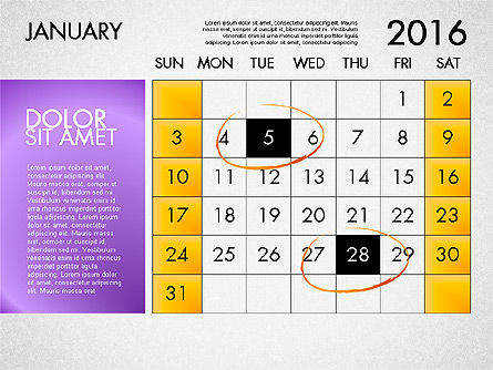Planning Calendar 2016, Slide 2, 03120, Timelines & Calendars — PoweredTemplate.com