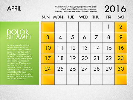 Planning Calendar 2016, Slide 5, 03120, Timelines & Calendars — PoweredTemplate.com