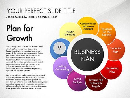 Business Plan Staged Flower Petal Diagram, Slide 10, 03160, Business Models — PoweredTemplate.com