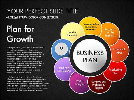 Business Plan Staged Flower Petal Diagram, Slide 20, 03160, Business Models — PoweredTemplate.com