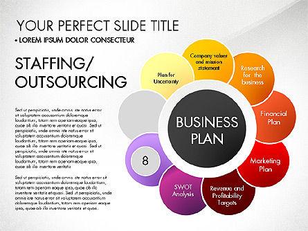 Business Plan Staged Flower Petal Diagram, Slide 9, 03160, Business Models — PoweredTemplate.com