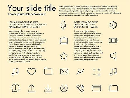 Thin Line Icons, Slide 12, 03192, Icons — PoweredTemplate.com