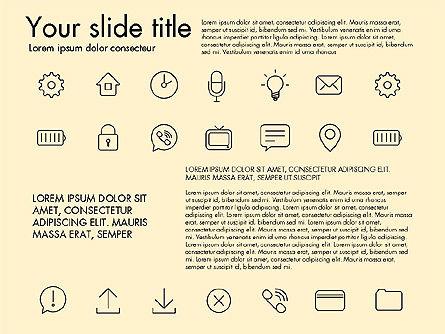 Thin Line Icons, Slide 13, 03192, Icons — PoweredTemplate.com