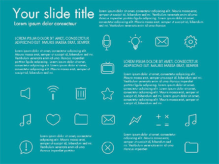 Thin Line Icons, Slide 6, 03192, Icons — PoweredTemplate.com