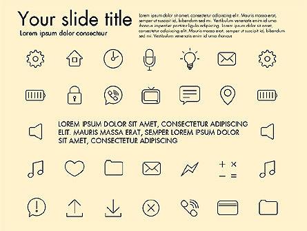 Thin Line Icons, Slide 9, 03192, Icons — PoweredTemplate.com