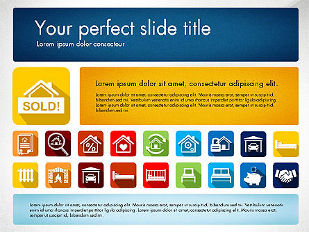 Real Estate Presentation Concept with Material Design Icons Slide 2