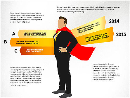 Options Diagram with Business Superman, Slide 2, 03224, Stage Diagrams — PoweredTemplate.com