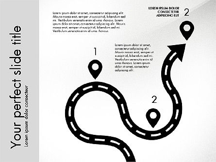 Road Shapes and Arrows, Slide 2, 03247, Stage Diagrams — PoweredTemplate.com