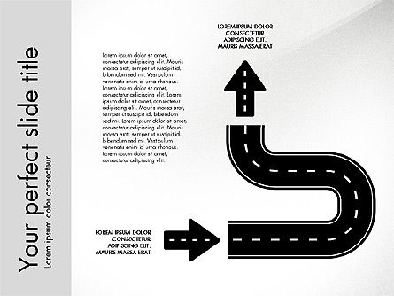 Road Shapes and Arrows, Slide 5, 03247, Stage Diagrams — PoweredTemplate.com