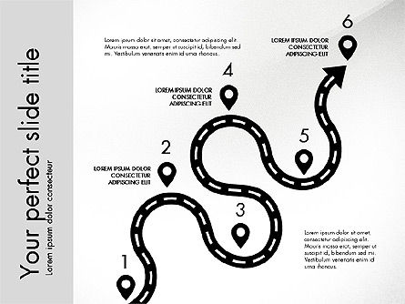 Road Shapes and Arrows, Slide 7, 03247, Stage Diagrams — PoweredTemplate.com