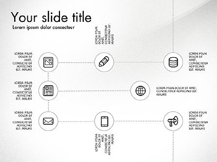 Flow Chart with Icons Concept, Slide 2, 03249, Flow Charts — PoweredTemplate.com