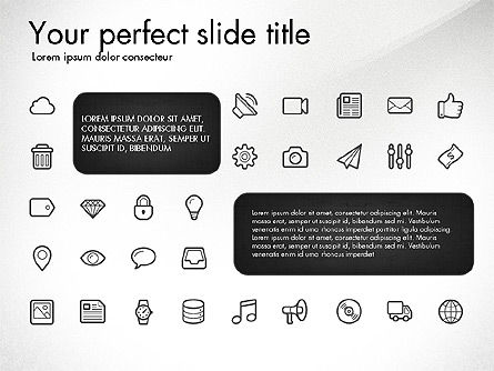 Thin Line Icons Collection, Slide 2, 03252, Icons — PoweredTemplate.com