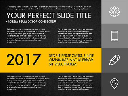 Monochrome Presentation in Flat Design Style, Slide 13, 03257, Presentation Templates — PoweredTemplate.com