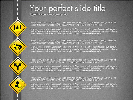 Road and Signs Concept, Slide 10, 03310, Shapes — PoweredTemplate.com