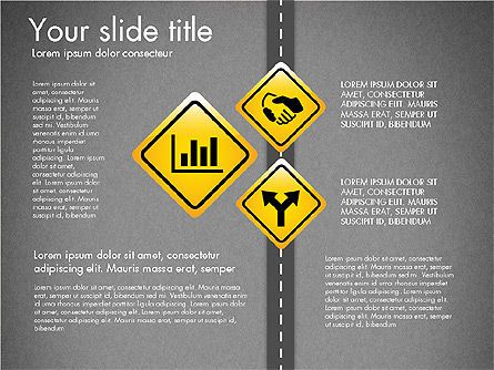 Road and Signs Concept, Slide 13, 03310, Shapes — PoweredTemplate.com